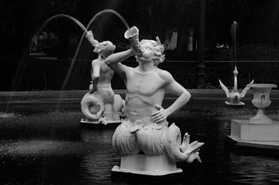 Photograph - Satyrs And Swan Bw by Bradford Martin