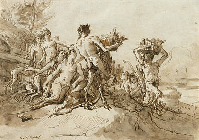 Drawing - Satyrs Carrying Baskets Of Provision For Their Families by Giovanni Domenico Tiepolo