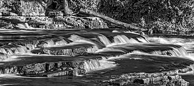 Sauble Photograph - Sauble Falls Autumn Evening 2 Bw by Steve Harrington