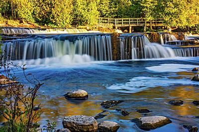 Ledge Photograph - Sauble Falls Autumn Evening by Steve Harrington
