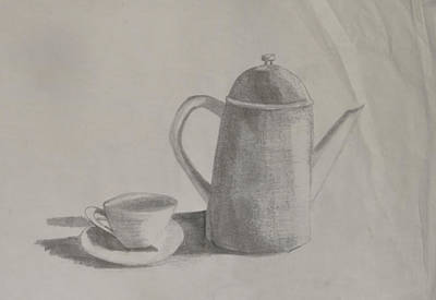 Tableware Drawing - Saucer And Pot by Lynette Fekete