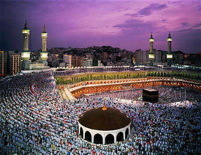Mecca Photograph - Saudi Arabia, Hejaz, Mecca, Al Haram Mosque, Elevated View by Nabeel Turner