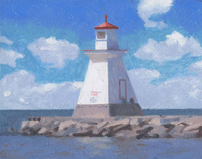 Painting - Saugeen River Range Front Light by Charles Pompilius