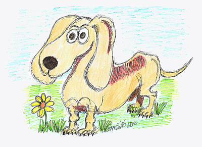 Dachshund Puppy Mixed Media - Sausage Dog by Diana-Lee Saville