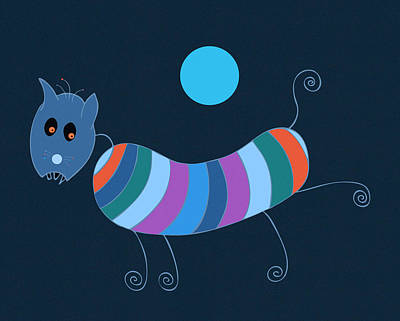 Children Book Painting - Sausage Dog In Blue Moon by Frank Tschakert