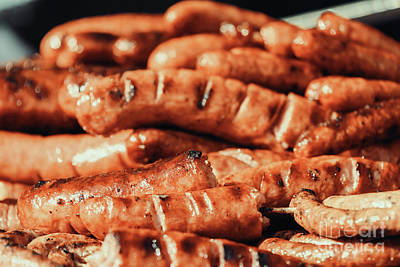 Grate Photograph - Sausages On Barbecue Grill by Radu Bercan