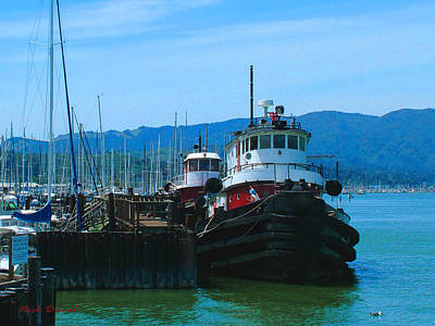 Sausalito Mixed Media - Sausalito Harbor Tugs  by Nick Diemel