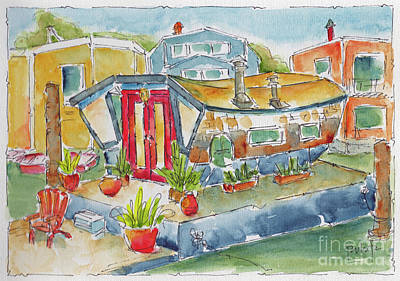 Painting - Sausalito Houseboat by Pat Katz