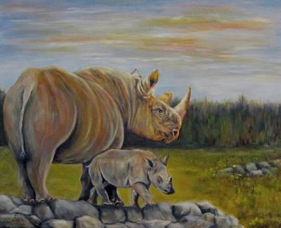 Savanna Overlook, Rhinoceros  Art Print