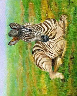 Savanna Stripes- Zebra Art Print by Mary Mapes