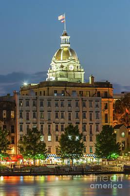 Photograph - Savannah City Hall At Twilight I by Clarence Holmes