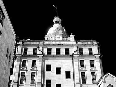 Photograph - Savannah City Hall Mono by John Rizzuto