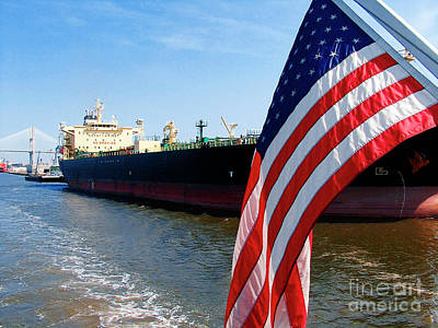 Photograph - Savannah Georgia Container Ship And Us Flag by Ginette Callaway
