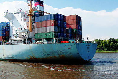 Photograph - Savannah Georgia Harbour Container Ship Middle East  by Ginette Callaway