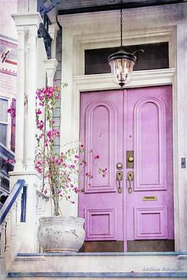 Photograph - Savannah Home Pink Door Architecture by Melissa Bittinger