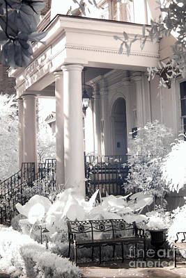 Photograph - Savannah Porches Historical Homes - Savannah Olde Pink House Black White Infrared Architecture Print by Kathy Fornal