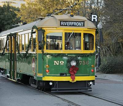 Photograph - Savannah River Street Streetcar At Christmas by Bradford Martin