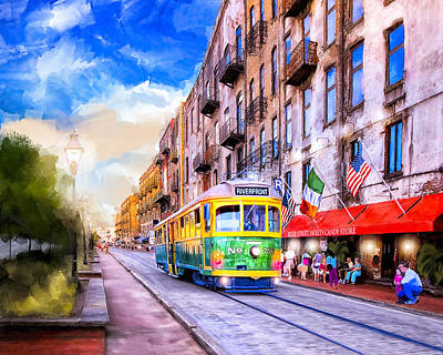 Mixed Media - Savannah River Street Streetcar by Mark Tisdale