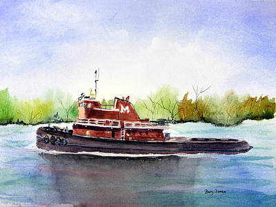 Painting - Savannah River Tug by Barry Jones