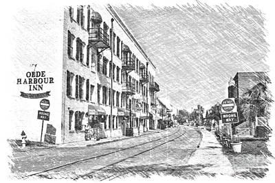 Photograph - Savannah River Walk Digital Sketch by Carol Groenen