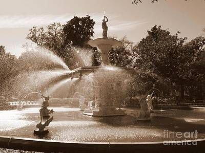Photograph - Savannah Sepia - Forsyth Fountain by Carol Groenen