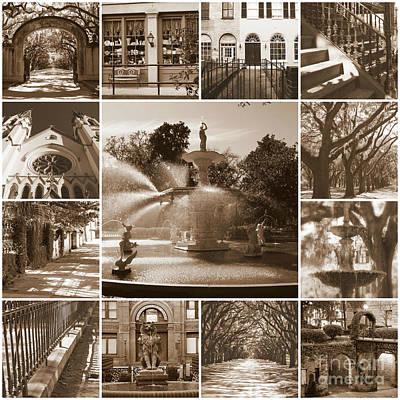 Photograph - Savannah Sepia Collage by Carol Groenen