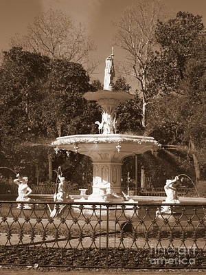 Photograph - Savannah Sepia - Park Fountain by Carol Groenen