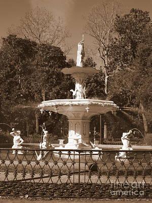 Photograph - Savannah Sepia - Park Fountain by Carol Groenen