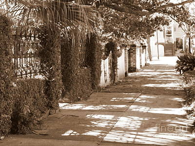 Photograph - Savannah Sepia - Shadowed Sidewalk by Carol Groenen
