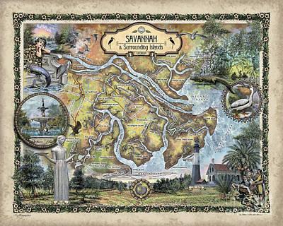 Painting - Savannah Surrounding Islands Map by Lisa Middleton