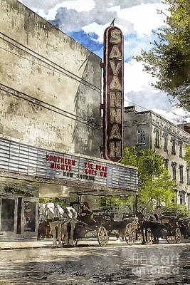 Savannah Theatre Art Print by Carrie Cranwill