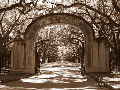 Impressionist Landscapes - Savannaha Sepia - Wormsloe Plantation Gate by Carol Groenen