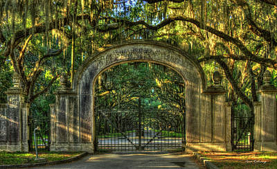 Art Print featuring the photograph Savannah's Wormsloe Plantation Gate Live Oak Alley Art by Reid Callaway