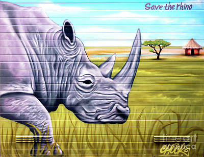 Photograph - Save The Rhino by John Rizzuto