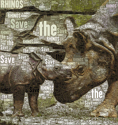 Mixed Media - Save The Rhinos by Susan Maxwell Schmidt