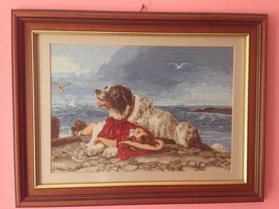 Needlepoint Painting - Saved After Sir Edwin Lanseer  by Maria Filip