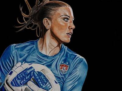 Soccer Drawing - Saved By Hope by Brian Broadway
