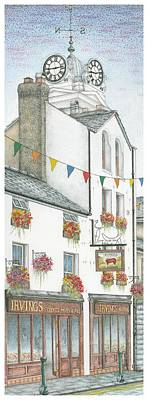 Storefront Painting - Savings Bank Clock Ulverston Cumbria by Sandra Moore