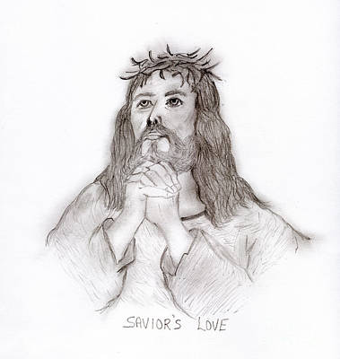 Jesus Drawing - Savior's Love by Sonya Chalmers