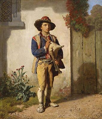 Reinhard Painting - Savoyard Boy With Bagpipes by Reinhard Sebastian Zimmermann