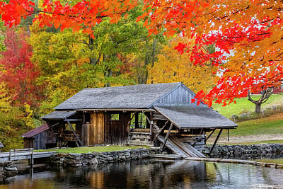 Sawmill Reflection, Autumn In New Hampshire Art Print