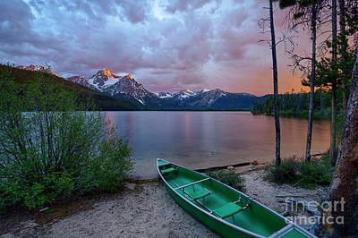 Green Canoe Photograph - Sawtooth Paddle by Idaho Scenic Images Linda Lantzy