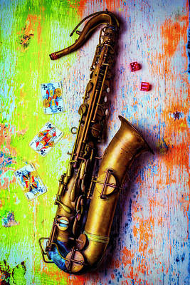 Folk Art Photograph - Sax And Old Playing Cards by Garry Gay