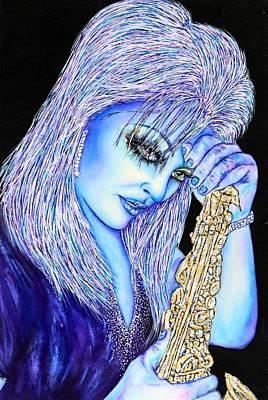 Mixed Media - Sax Blue by Joseph Lawrence Vasile