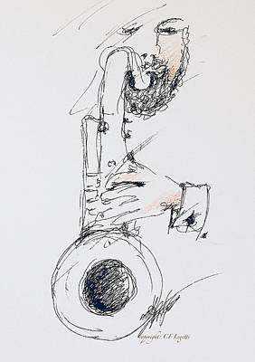 Drawing - More Sax Please  by C F Legette