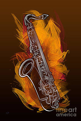 Digital Art - Sax Craze by Bedros Awak