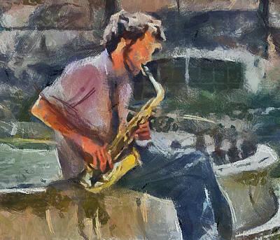 Musiciant Digital Art - Sax Magic by Yury Malkov
