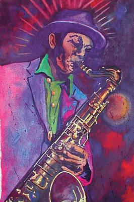 Saxaphone Painting - Sax Man by Chuck Creasy