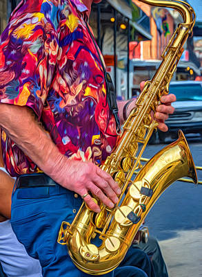 Jazz Photograph - Sax Man - Paint by Steve Harrington