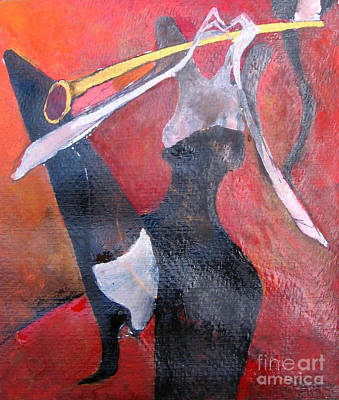 Painting - Sax Player by Maya Manolova
